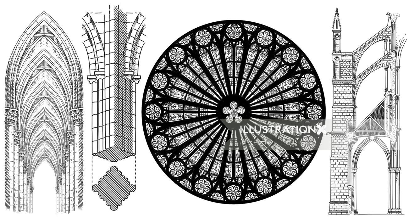 Gothic architecture pattern designs