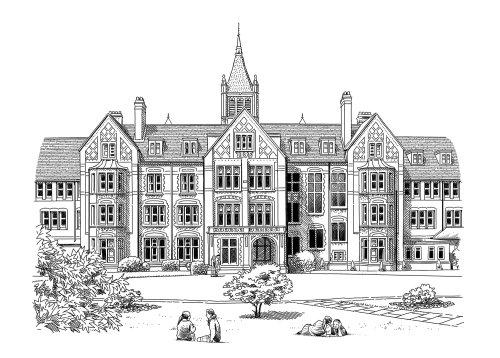 Dessin en noir et blanc de l'école St. Margarets