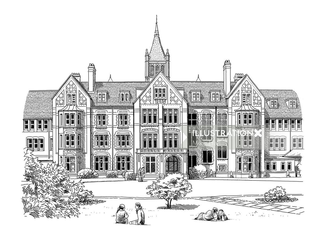 Black and white drawing of St. Margarets School