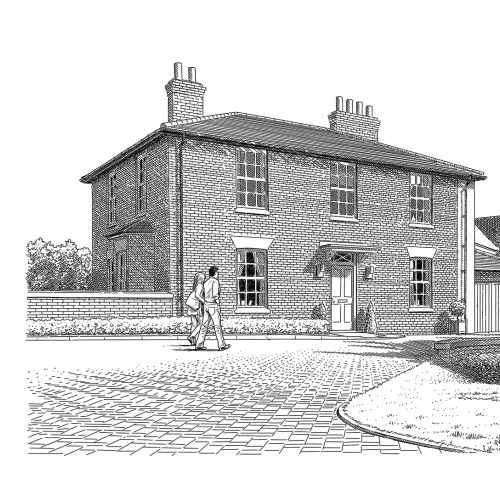 Illustration of residential building