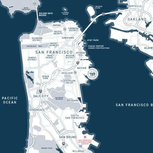 San Francisco graphic map design by Mike Hall