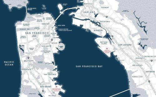 Conception de carte graphique de San Francisco par Mike Hall