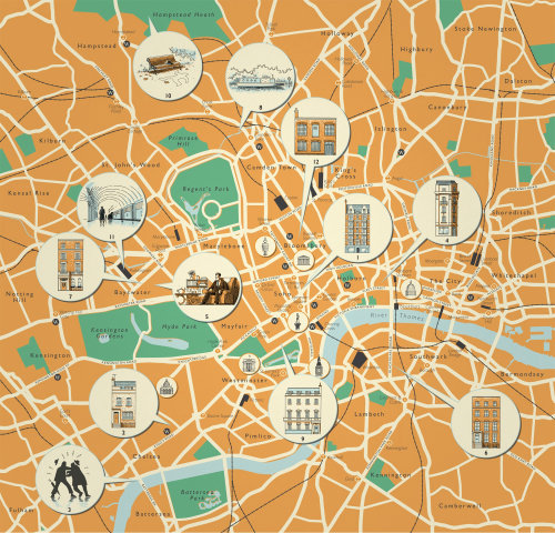 Detailed map of london locations
