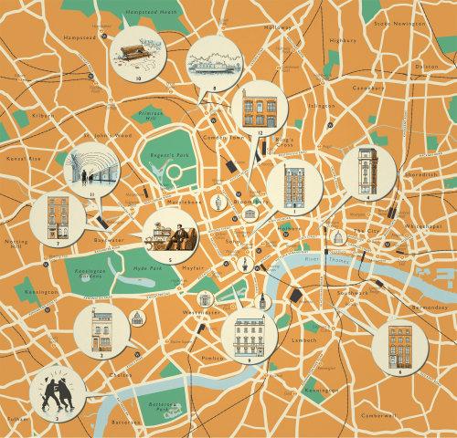 Carte détaillée des emplacements de Londres
