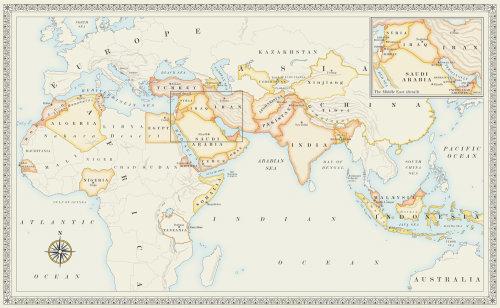 Carte des pays islamiques pour un livre de recettes