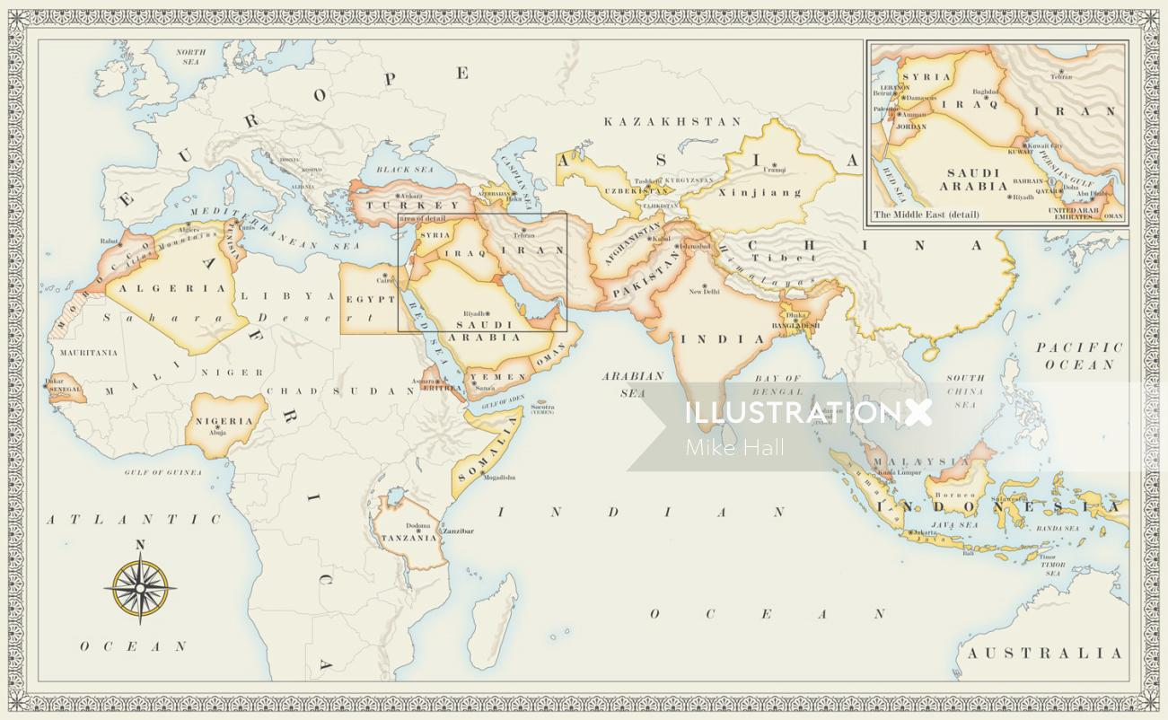 Map of Islamic countries for a recipe book