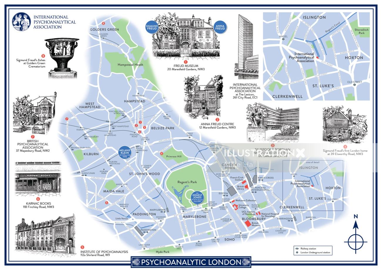 Psychoanalytic London map illustration