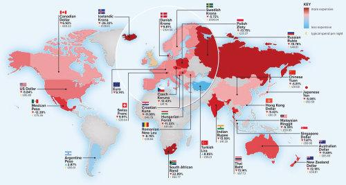Carte des monnaies du monde par Mike Hall