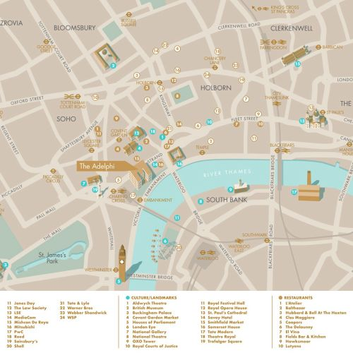 The Adelphi in London map design by Mike Hall