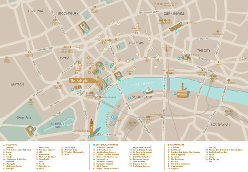 O mapa de Adelphi em Londres por Mike Hall