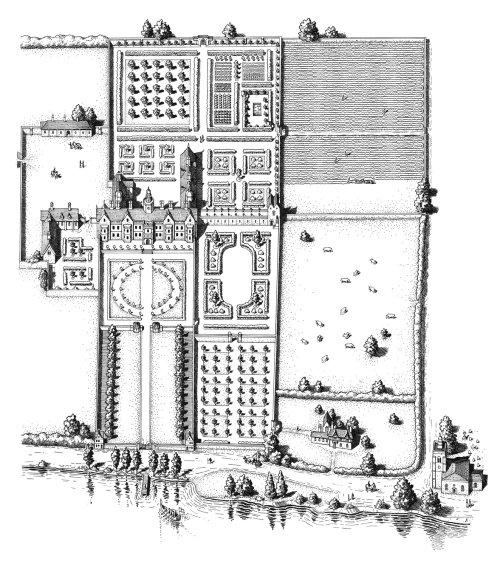 Dessin en noir et blanc du manoir Chelsea de Thomas More