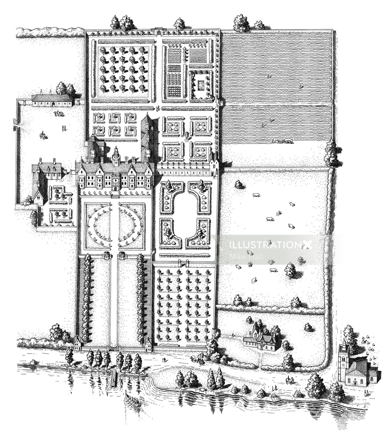 Thomas More's Chelsea Manor black and white drawing