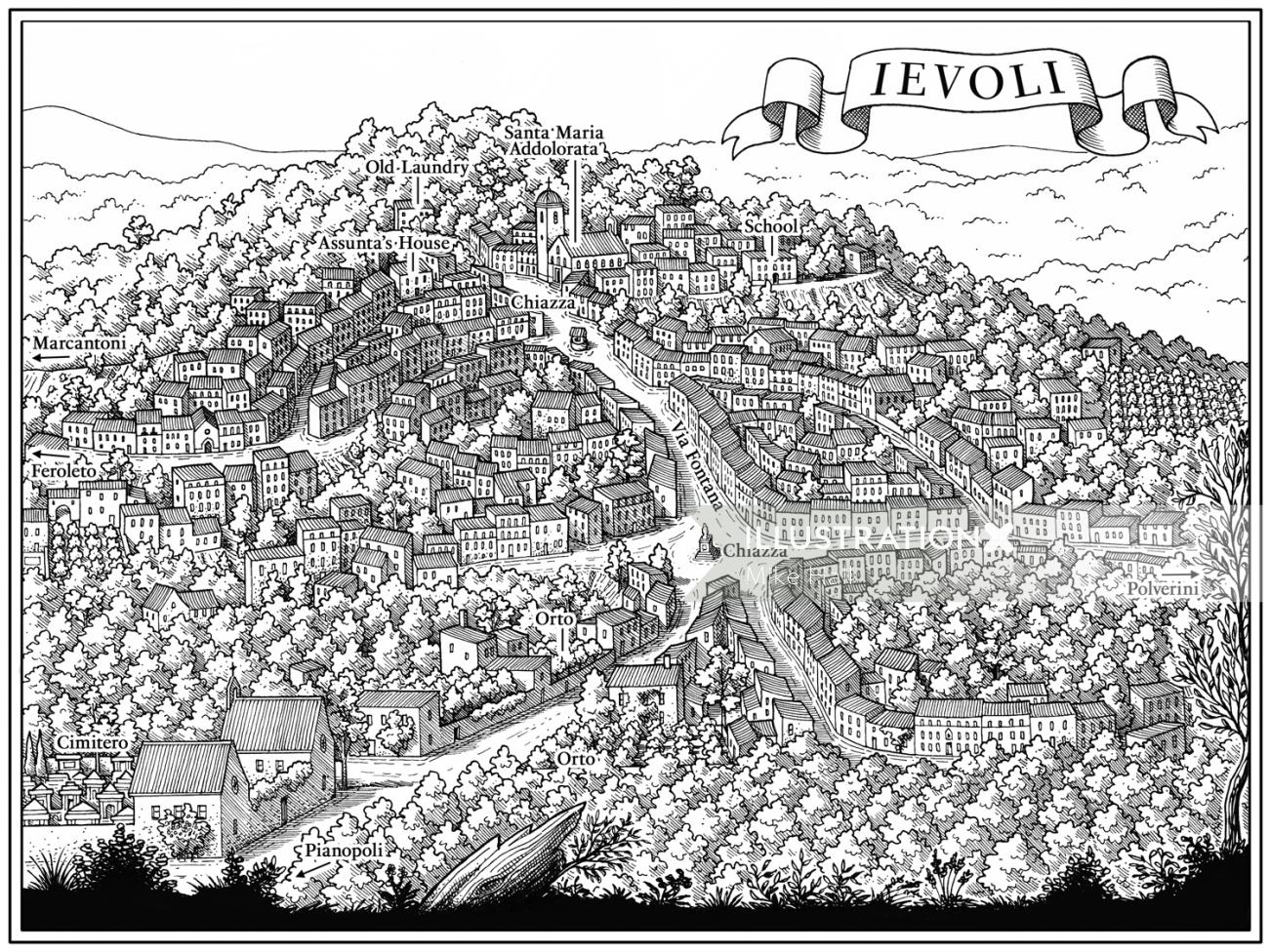Black and white drawing of Ievoli by Mike Hall