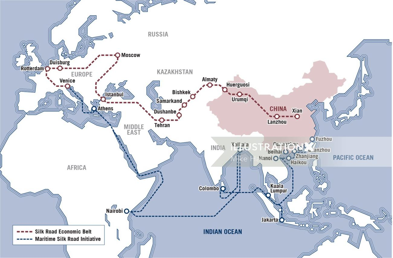 Route map around the world