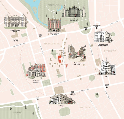 Lugares famosos no design de mapas de Londres por Mike Hall