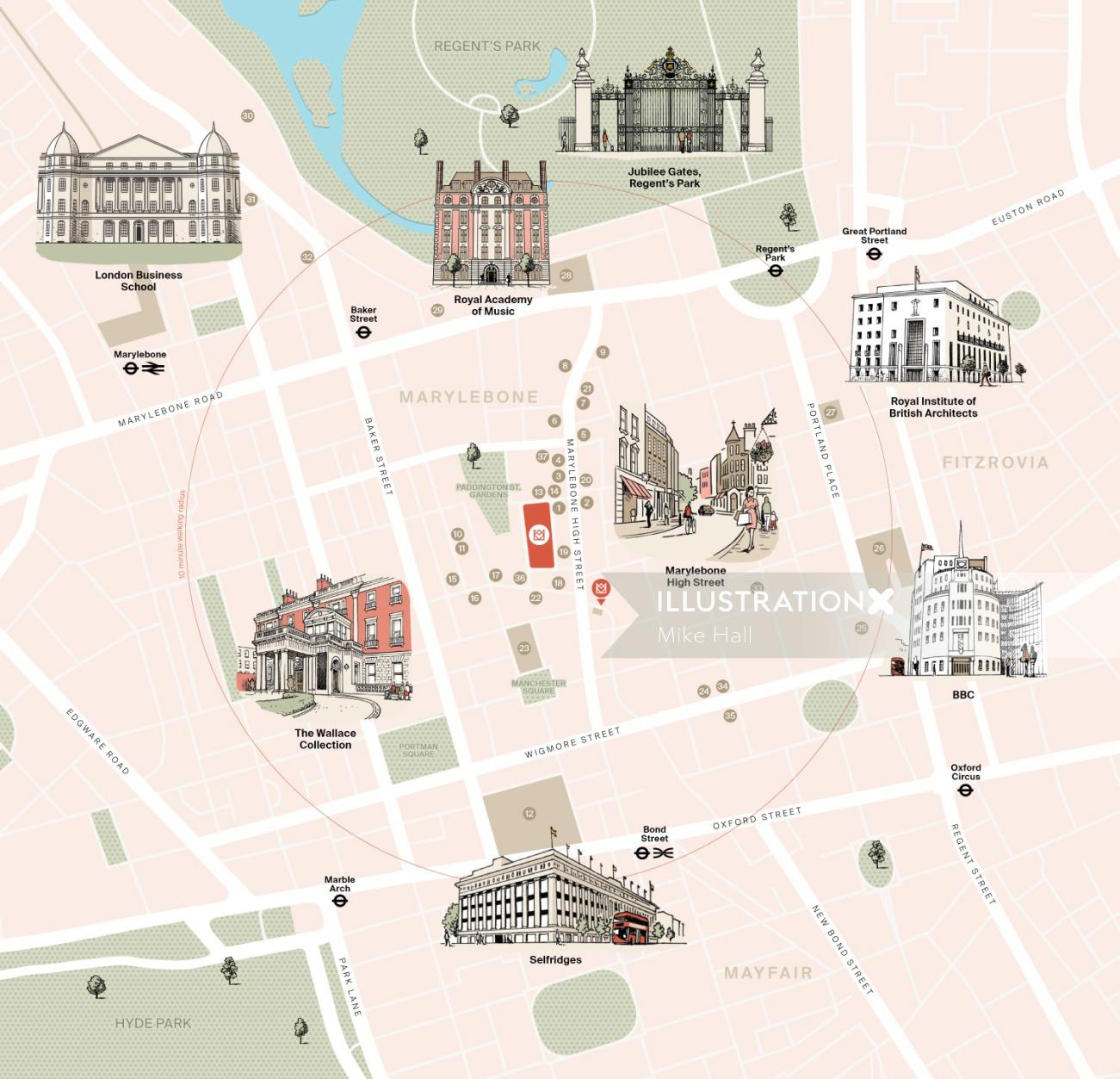 Famous places in London map design by Mike Hall