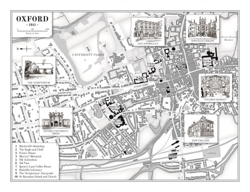 Map of Oxford, 1911 for 'The Dictionary of Lost Words'