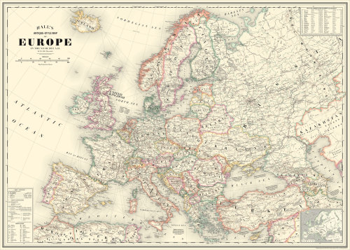 Antique-Style Map of Europe 2021