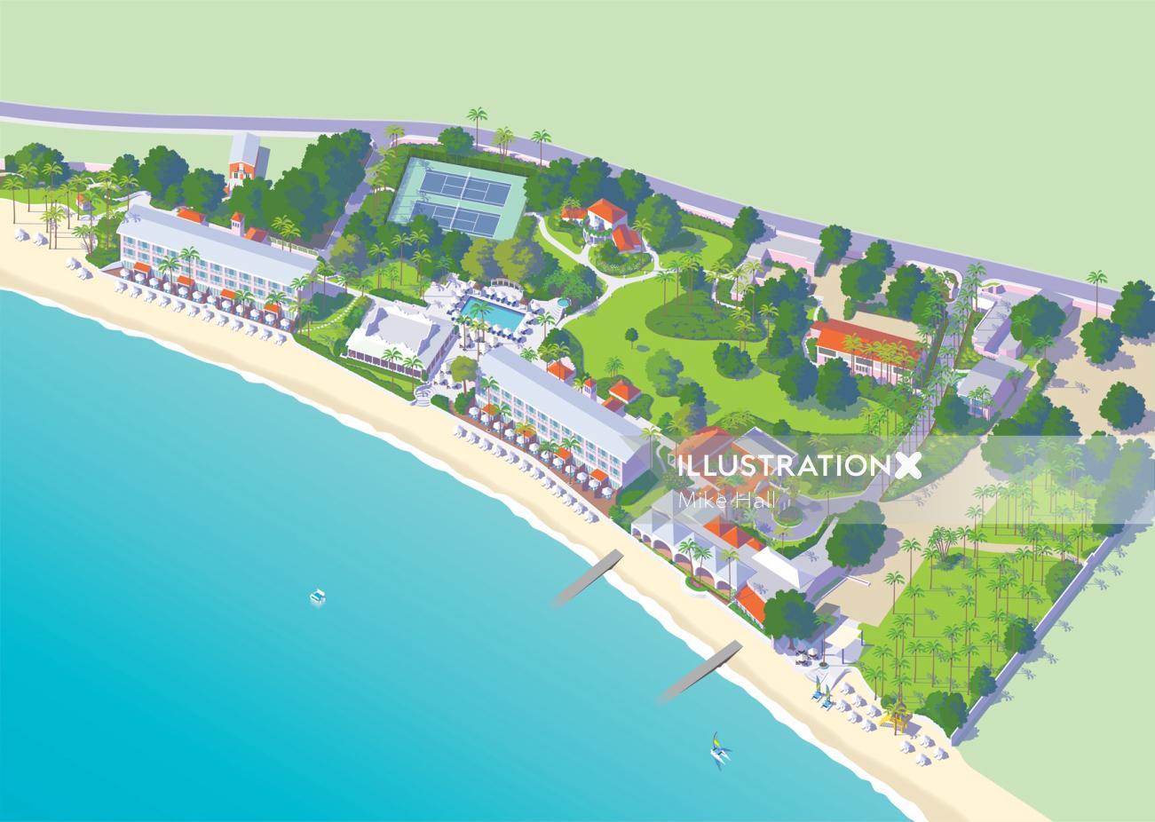 Map of the Fairmont Royal Pavilion resort, Barbados