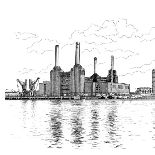 Black & White Sketch of Battersea Power Station