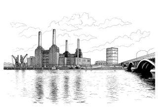 Black & White Sketch of Battersea Power Station