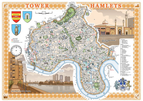Illustrated map of Tower Hamlets, London