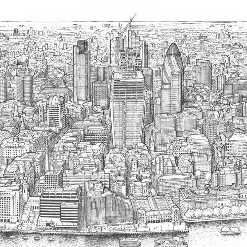 Illustrated map of Panorama of London