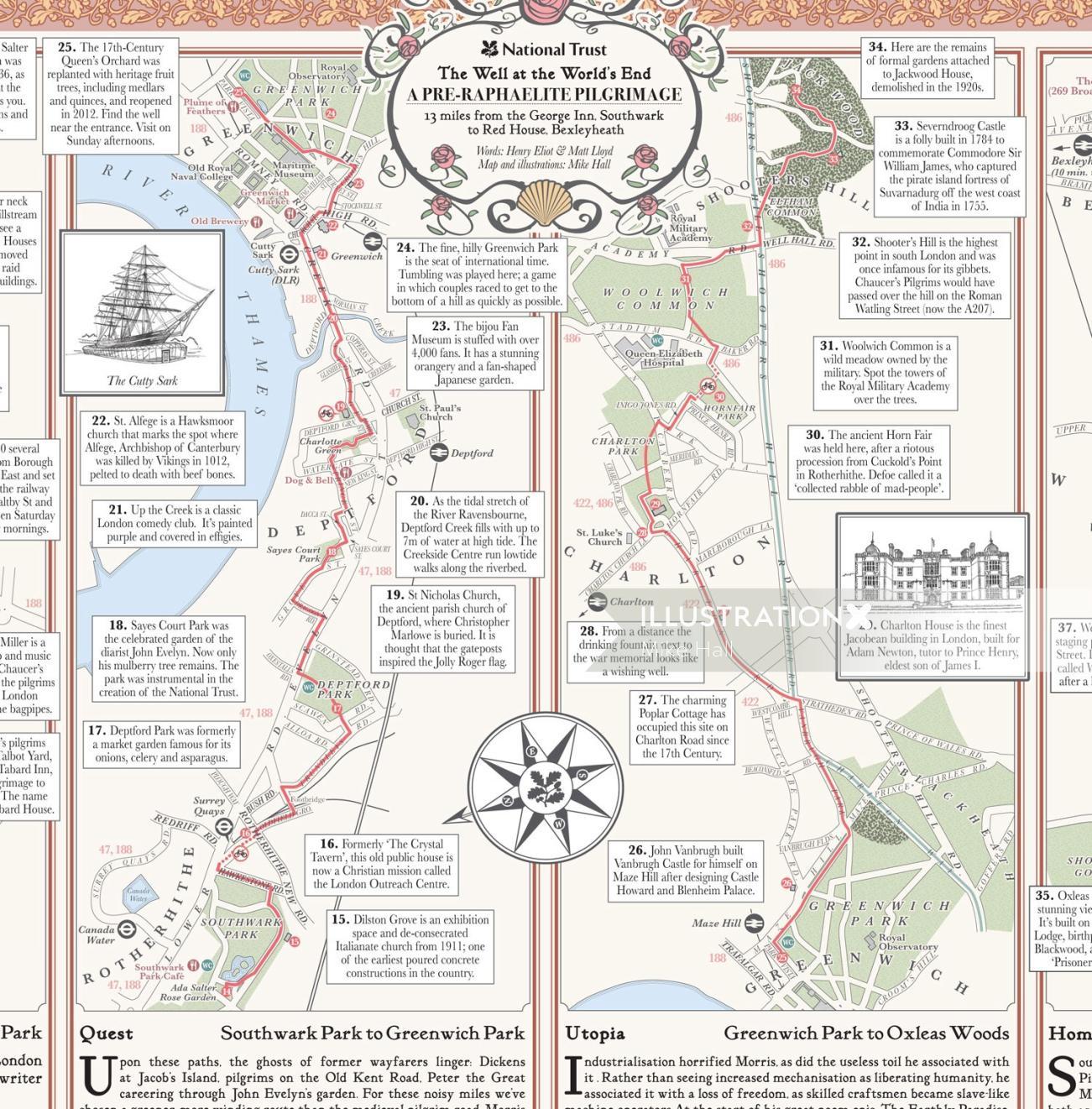 Pre-Raphaelite Pilgrimage Map (detail)