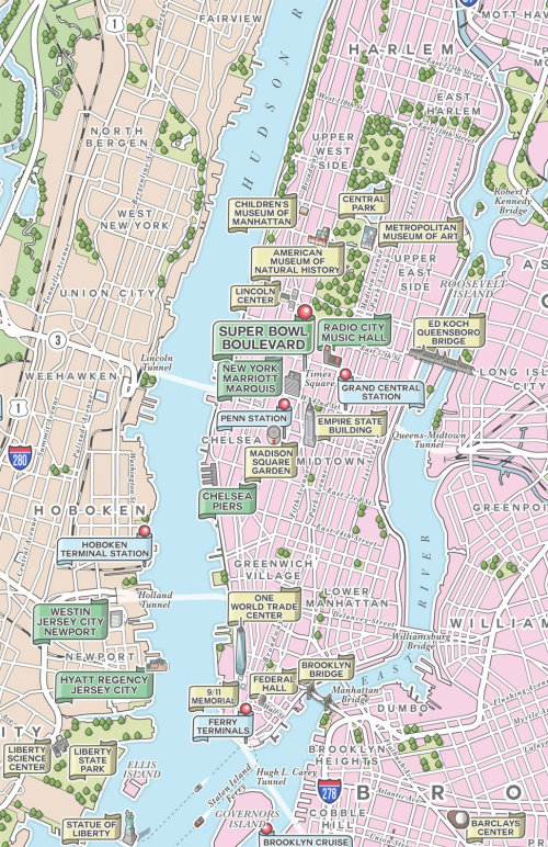 New York & North Jersey illustrated map