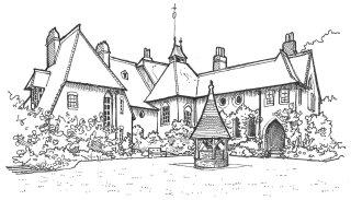 Black & White illustration of The Red House