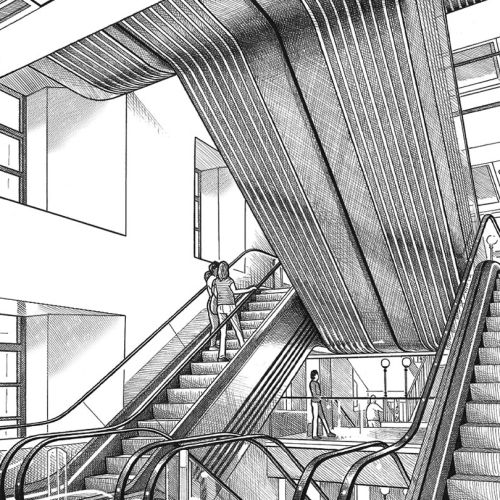 Harrods Basil Street entrance hall escalators
