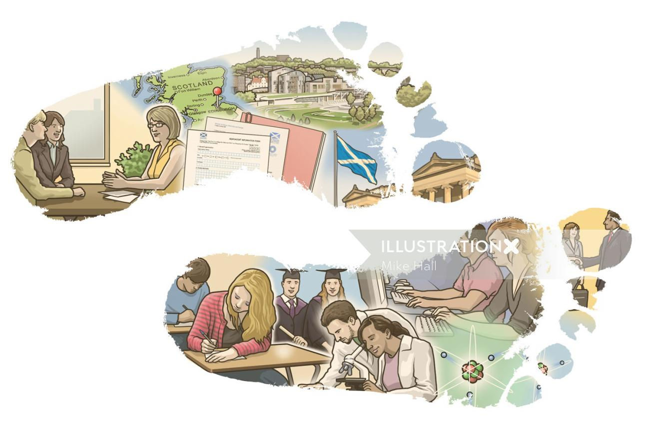 Public Sector and Universities Footsteps Illustration