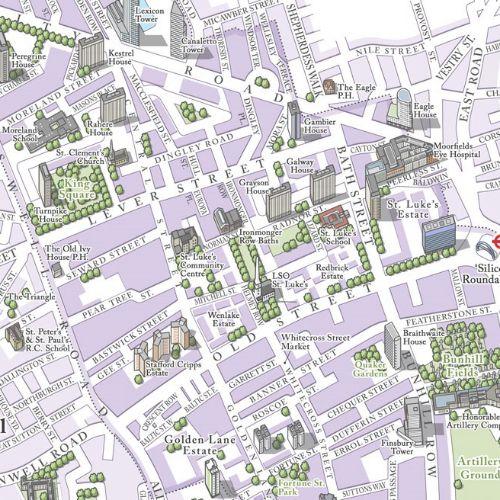 Map illustration of St. Lukes street in London