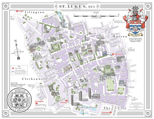 Map illustration of St. Lukes street in London