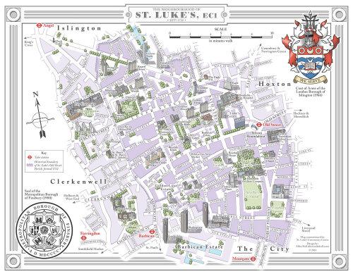 Illustration de la carte de la rue St. Lukes à Londres