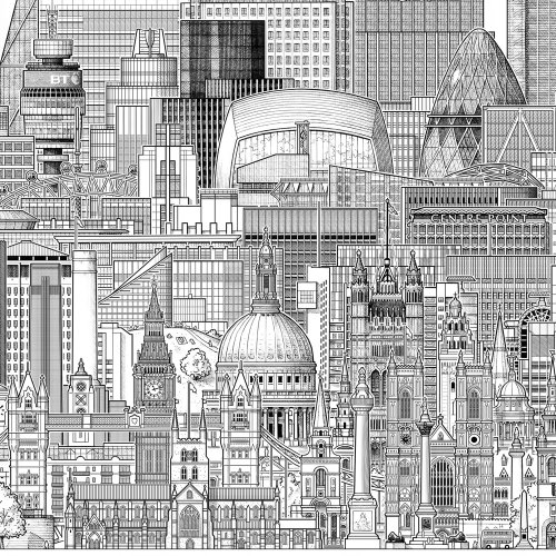 Illustration des bâtiments de Londres par Mike Hall