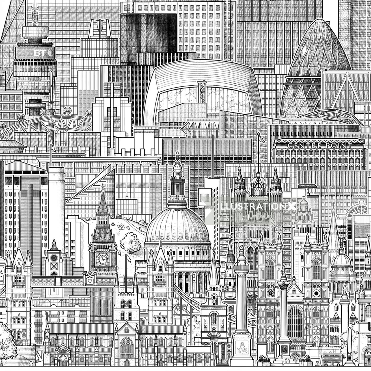 London buildings illustration by  Mike hall