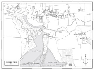 Hand drawn map of Fishbourne village