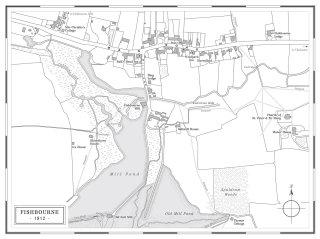 Hand drawn map of Fishbourne village