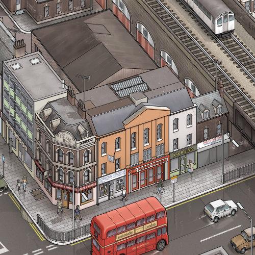 Système de transport des années 1920 de Londres illustration par Mike Hall