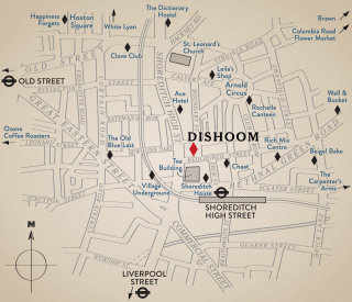 Line drawing of Dishoom location map