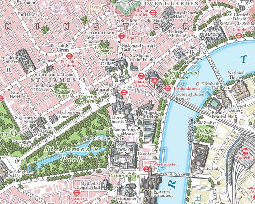 Illustration de la carte du centre de Londres