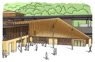Takao station architectural illustration