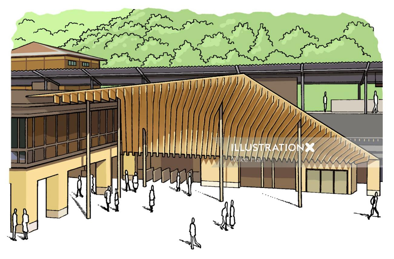 Takao station architectural illustration