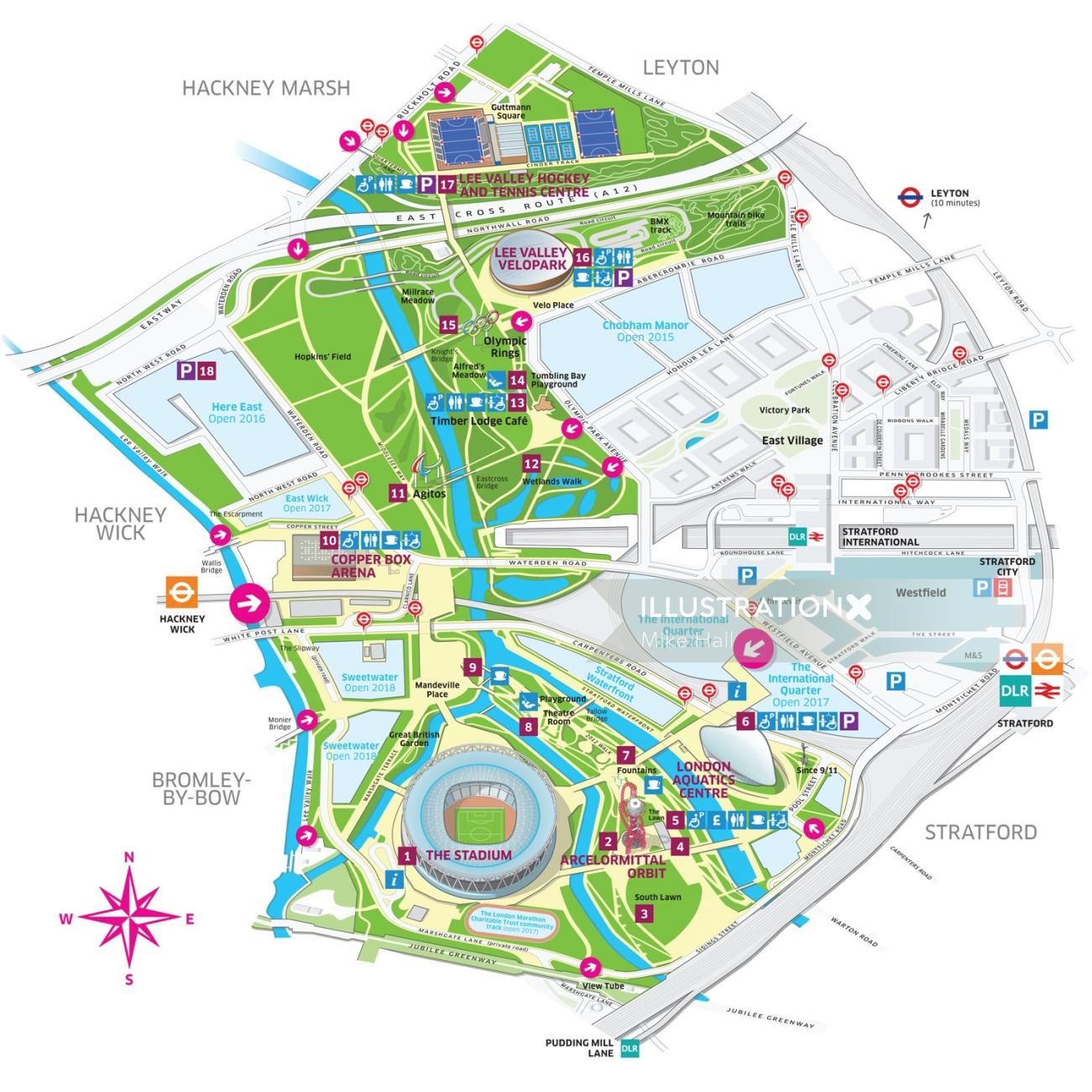 Map illustration of Queen Elizabeth olympic park