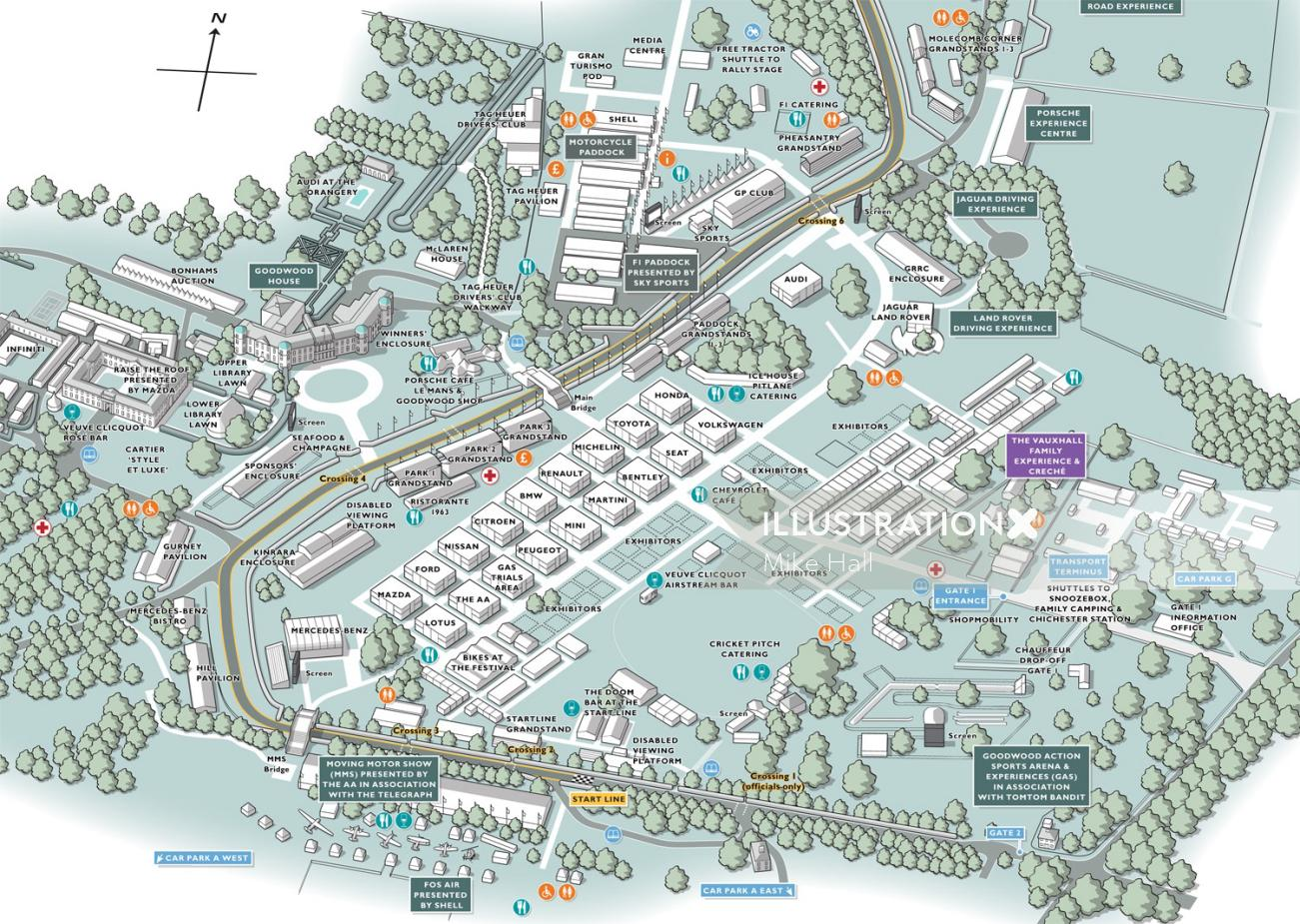 Goodwood Festival of Speed event map illustration