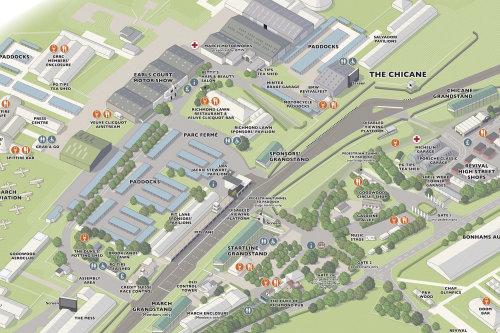 Conception graphique vectorielle de la carte de l'événement Goodwood