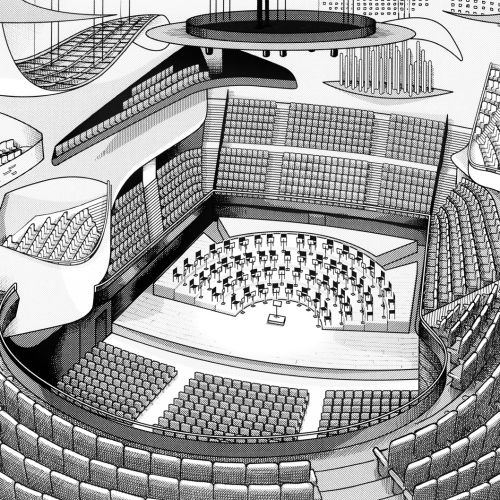Paris Philmarmonie concert hall - Architectural illustration