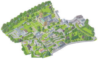 Landscape illustration of Buckfast Abbey