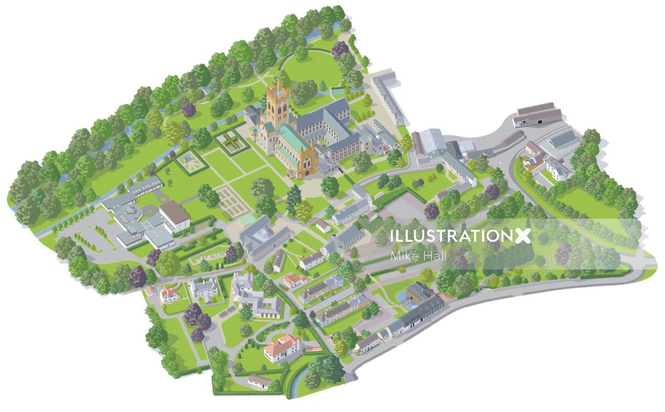 Landscape illustration of Buckfast Abbey